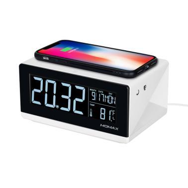 摩米士QC1CNW数字闹钟+无线充电器(10W快充 闹钟功能 3挡调光 高清LCD)