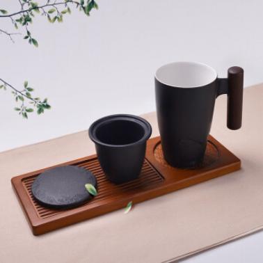 茶人岭 陶·韵 木把黑陶个人杯(带茶漏)300ml