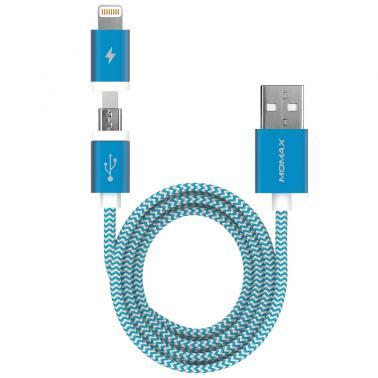摩米士Momax 精英2合1编织线(苹果认证Lightning 8 pin-1m蓝色)